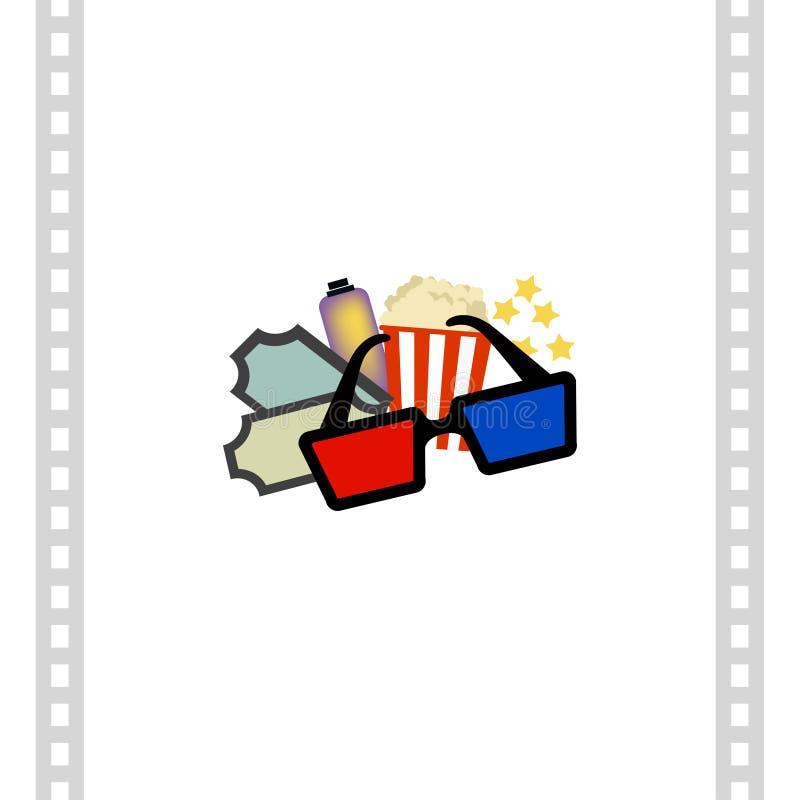 Dranken en 3D glazen, die op witte achtergrond worden geïsoleerd film Vector illustratie vector illustratie