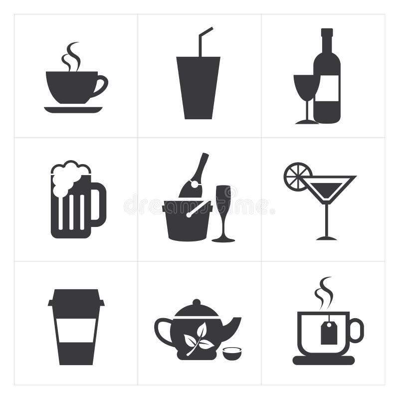 Dranken en drankenpictogramreeks stock illustratie