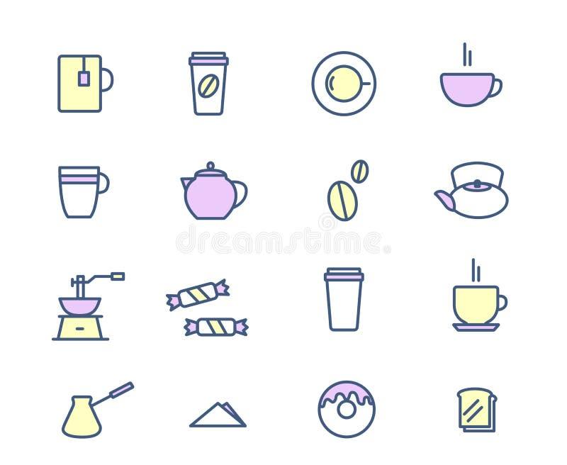 Dranken en drankenpictogramreeks De koffiethee, ontbijt Vectorillustratie stock illustratie