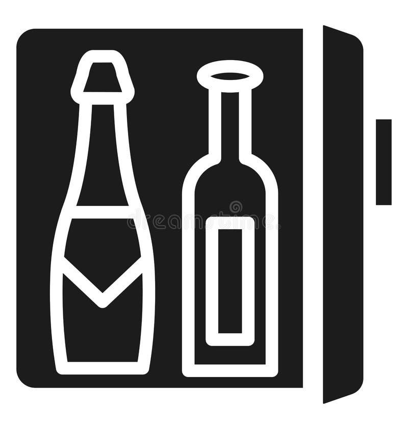 Dranken in Koelkast Geïsoleerd Vectorpictogramgebruik voor Reis en Reisprojecten stock illustratie