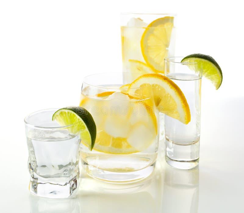 Dranken met citroen en kalk. stock fotografie