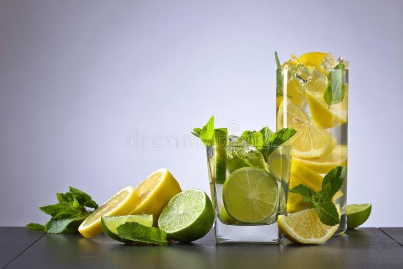 Dranken met citrusvrucht en pepermunt stock afbeelding