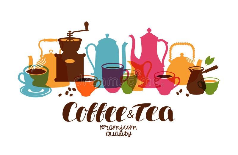 Dranken, thee, koffiebanner Ontwerpmalplaatje voor restaurantmenu of koffie Vector illustratie royalty-vrije illustratie