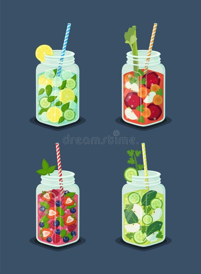 Dranken voor het Op dieet zijn Vastgestelde Vectorillustratie royalty-vrije illustratie