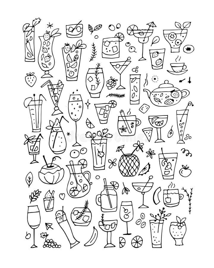 Drankeninzameling, ontwerp van het kleuren van boekpagina royalty-vrije illustratie
