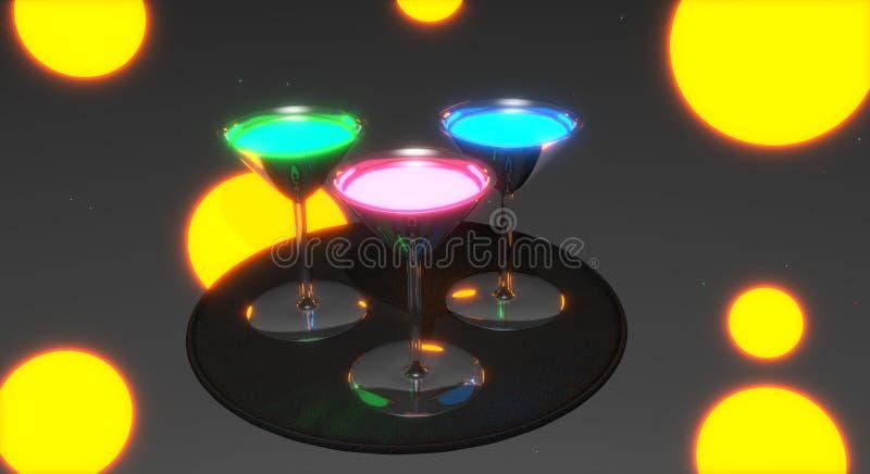 Drankglazen met kleurrijke gloeiende dranken worden gevuld, die zich op een dienblad bevinden dat stock illustratie