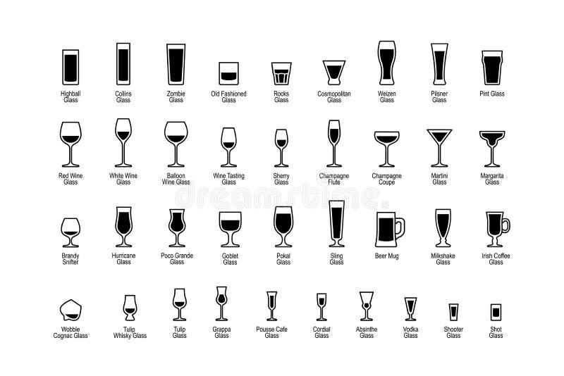 Drankglazen met titels, zwart-witte geplaatste pictogrammen vector illustratie
