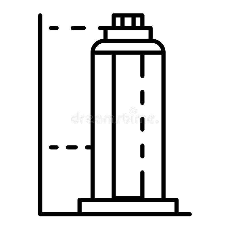 Drapacz chmur budynku ikona, konturu styl ilustracja wektor