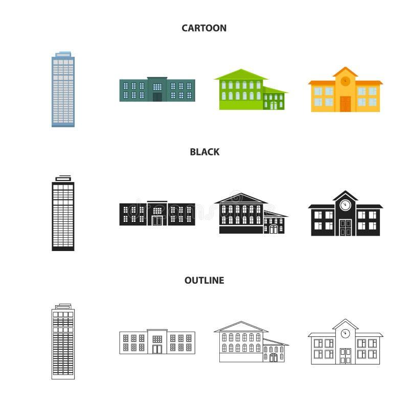 Drapacz chmur, policja, hotel, szkoła Budować ustalone inkasowe ikony w kreskówce, czerń, konturu symbolu stylowy wektorowy zapas royalty ilustracja