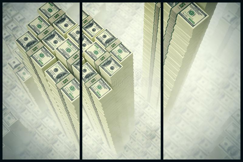 Drapacz chmur robić z 100 Dolarowych banknotów royalty ilustracja