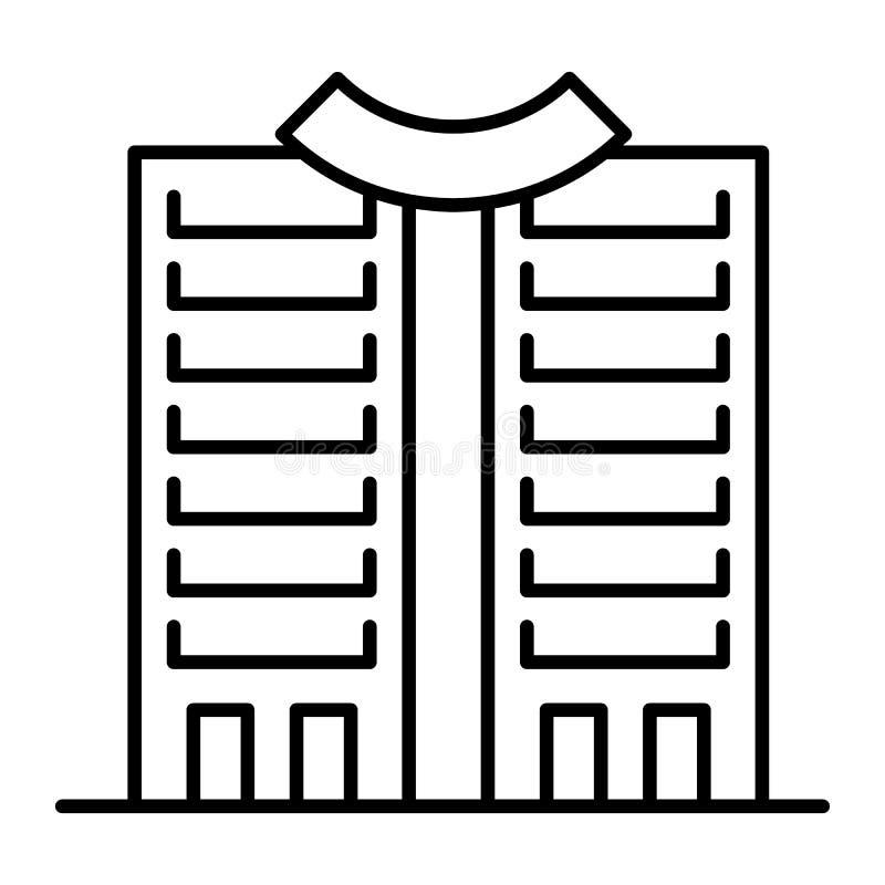 Drapacz chmur z round dachem cienieją kreskową ikonę Wysoki wzrosta budynek z round wierzchołka wektorową ilustracją odizolowywaj ilustracji