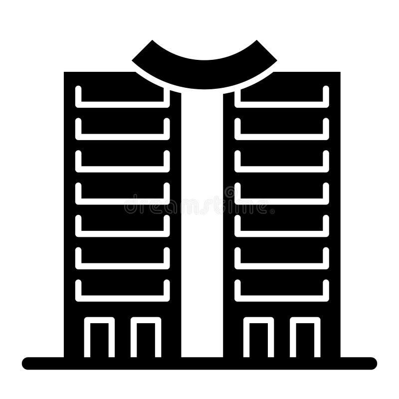 Drapacz chmur z round dachu bryły ikoną Wysoki wzrosta budynek z round wierzchołka wektorową ilustracją odizolowywającą na bielu ilustracji