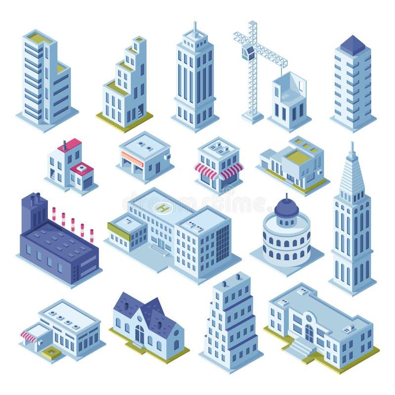 Drapacza chmur budynek i biznesowy biuro przy w centrum okręgiem Architektura grodzcy budynki dla miasta kartografują 3d isometri royalty ilustracja