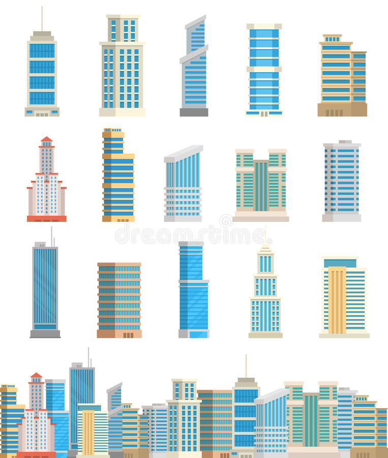Drapacza chmur miasta budynek odizolowywająca basztowa biurowa architektura mieści biznesową mieszkanie wektoru ilustrację ilustracja wektor