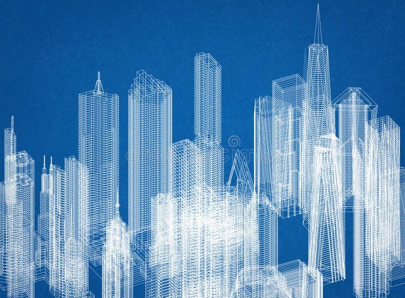 Drapacza chmur pojęcia architekta projekt royalty ilustracja
