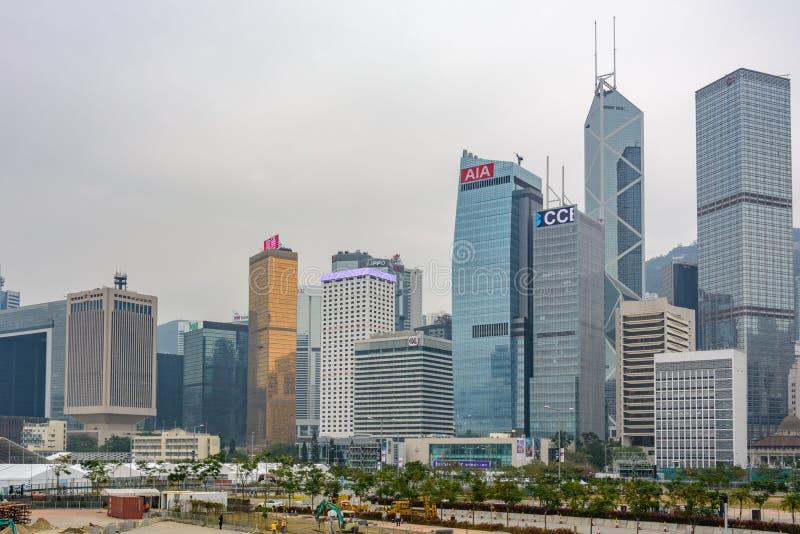 Drapacze chmur Hong Kong blisko Wiktoria schronienia fotografia stock