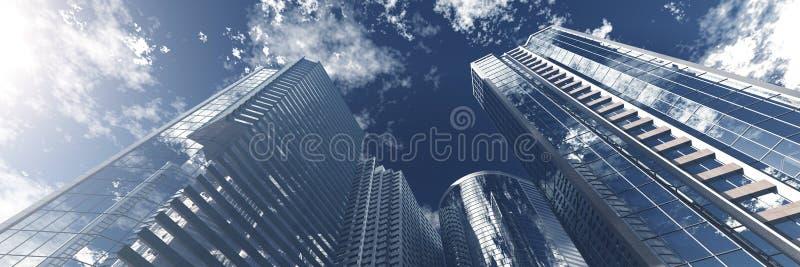 drapacze chmur Panorama nowożytni wieżowowie obraz royalty free