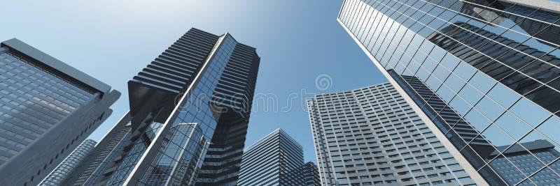 drapacze chmur Panorama nowożytni wieżowowie zdjęcia stock
