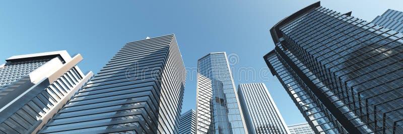 drapacze chmur Panorama nowożytni wieżowowie zdjęcie stock