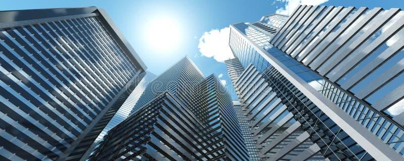 drapacze chmur Panorama nowożytni wieżowowie ilustracja wektor