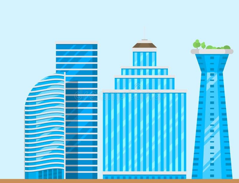 Drapaczy chmur budynków miasta architektury basztowego biurowego domu mieszkania wektoru biznesowa ilustracja ilustracja wektor