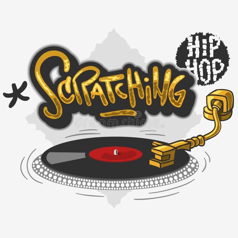 Drapający Hip Hop Odnosić sie etykietka graffiti Wpływał projekt z turntable dla koszulki lub majcheru na białym tle ilustracja wektor