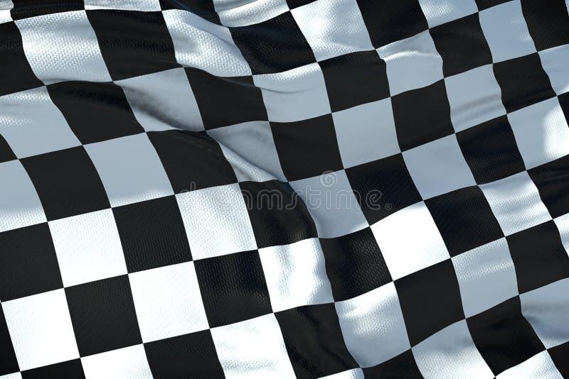 Drapeau à carreaux, fond de course d'extrémité, concurrence de Formule 1 illustration stock