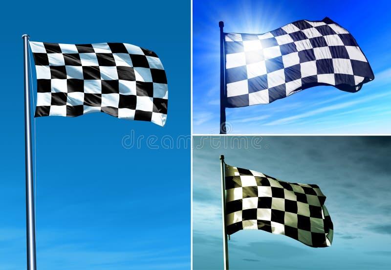 Drapeau à carreaux ondulant sur le vent photographie stock libre de droits
