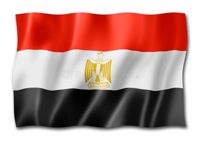 Drapeau égyptien d'isolement sur le blanc illustration de vecteur