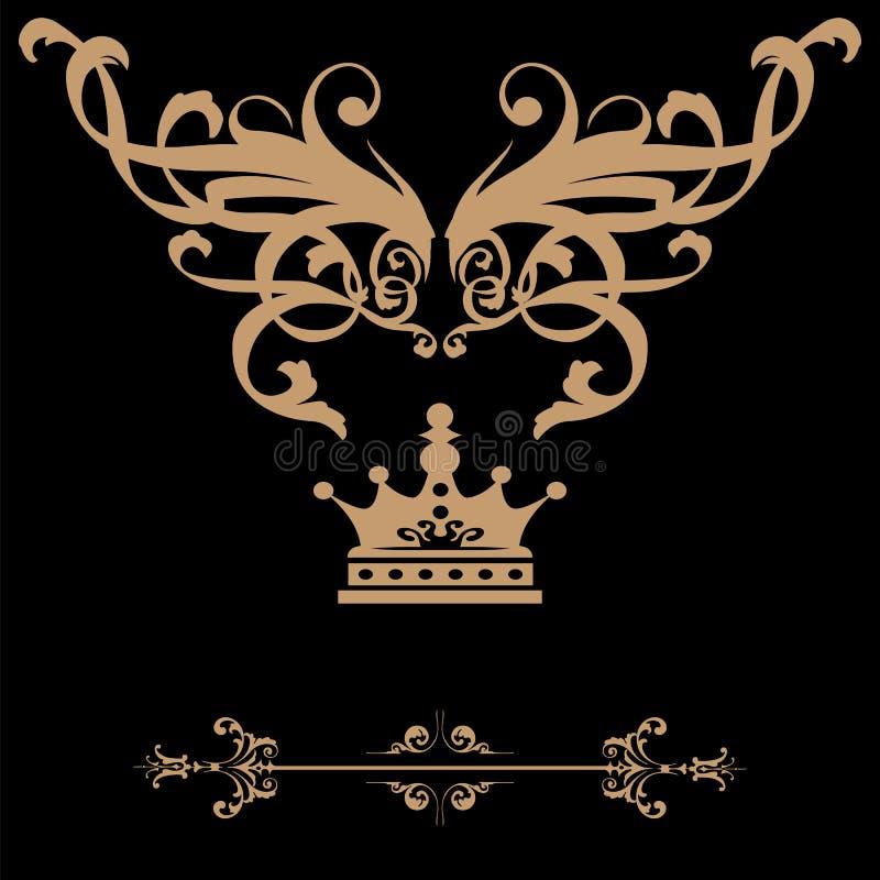 Drapeau élégant de trame d'or avec la tête, éléments floraux sur ou illustration de vecteur