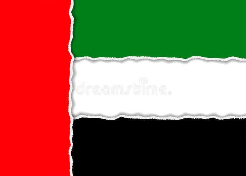 Drapeau abstrait des Emirats Arabes Unis de papier torned illustration stock