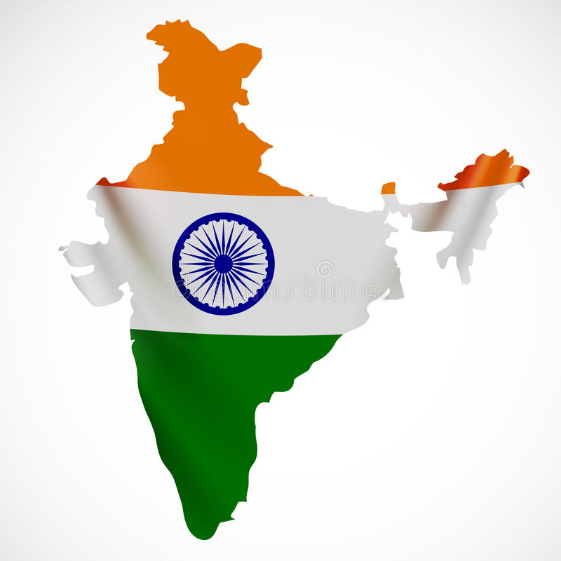 Drapeau accrochant d'Inde sous la forme de carte La république de l'Inde Concept de drapeau national illustration stock