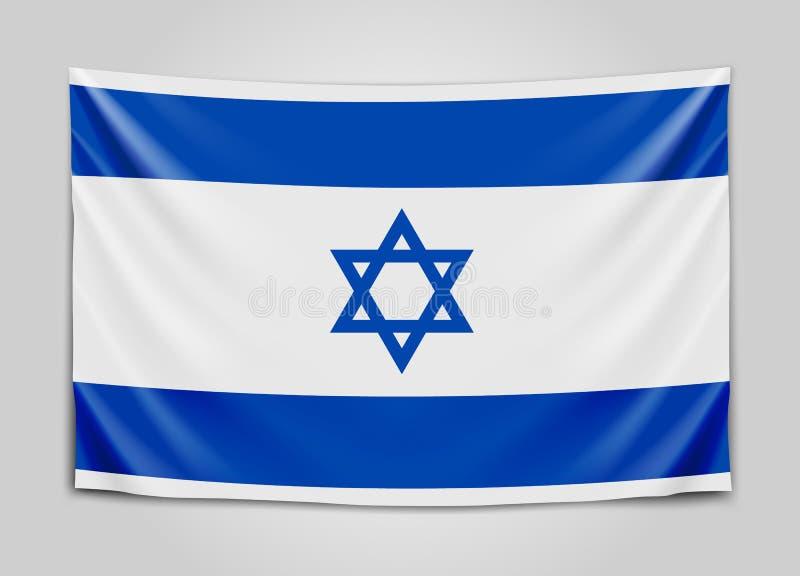Drapeau accrochant de l'Israël État d'Israël Concept israélien de drapeau national illustration de vecteur