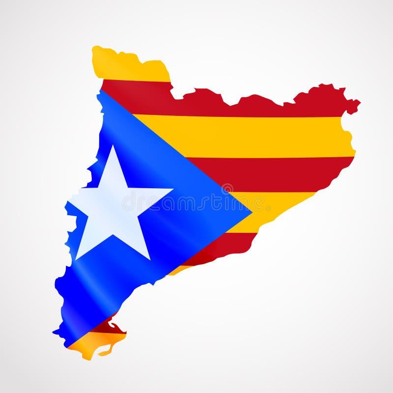 Drapeau accrochant de la Catalogne sous la forme de carte référendum de la Catalogne Concept de drapeau national illustration stock