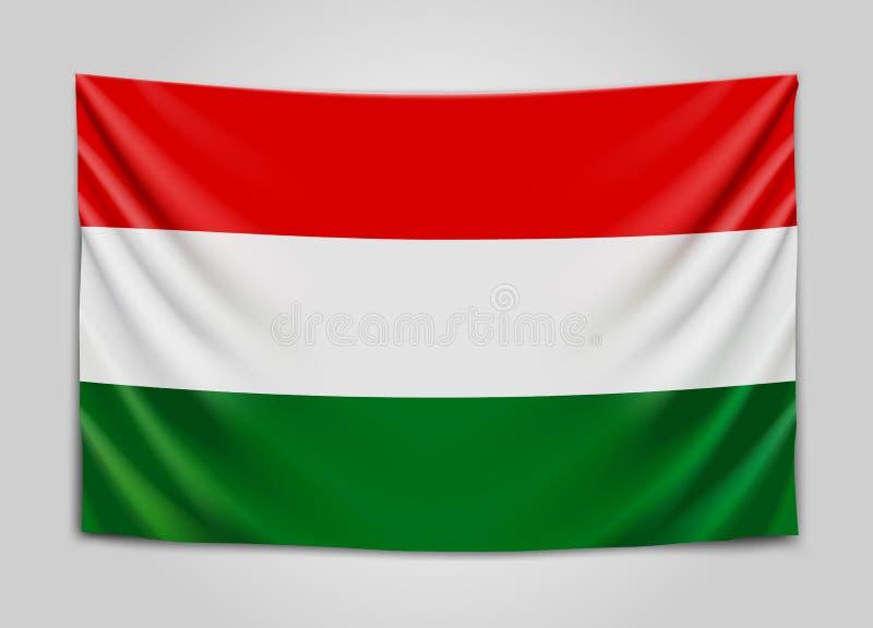 Drapeau accrochant de la Hongrie hungary Concept hongrois de drapeau national illustration stock