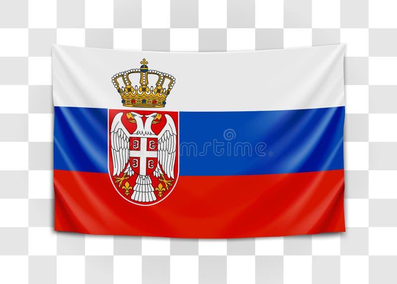 Drapeau accrochant de la Serbie R?publique de la Serbie Concept de drapeau national illustration stock