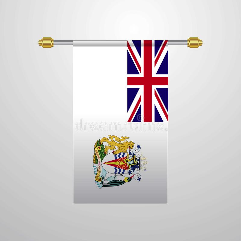 Drapeau accrochant de territoire antarctique britannique illustration stock