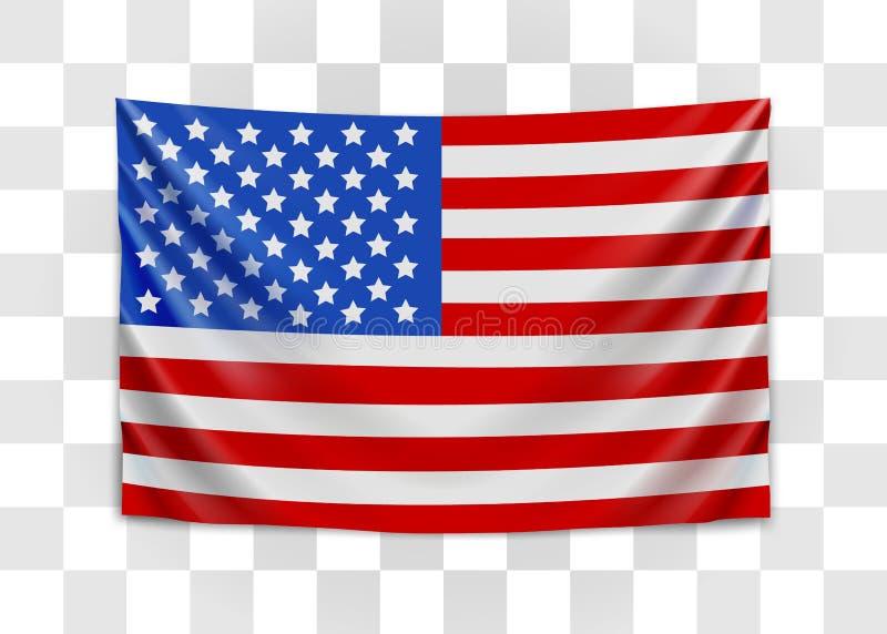 Drapeau accrochant des Etats-Unis Les Etats-Unis d'Am?rique Concept de drapeau national illustration de vecteur