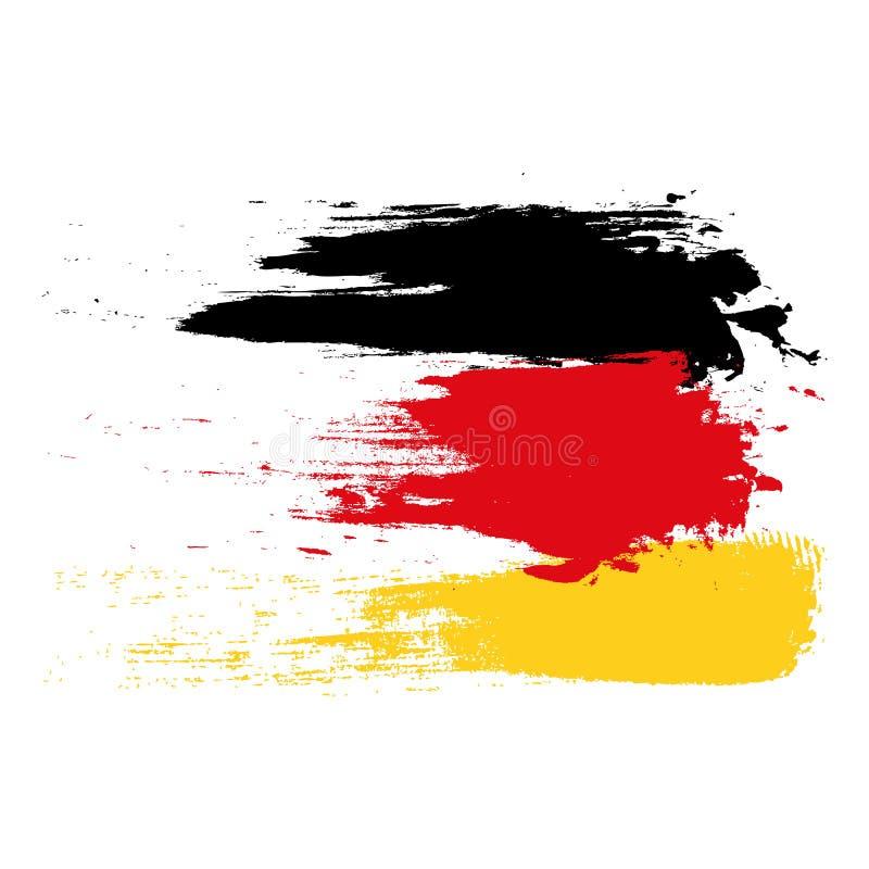 Drapeau allemand peint avec des courses de brosse sur le fond blanc Vecteur allemand peint eps10 de drapeau illustration stock