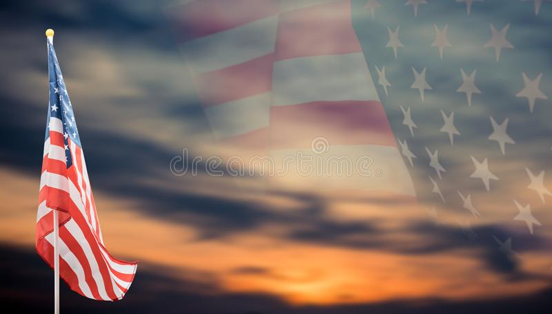 Drapeau américain avec le fond image stock