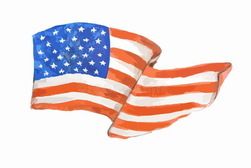 Drapeau américain d'aquarelle illustration libre de droits