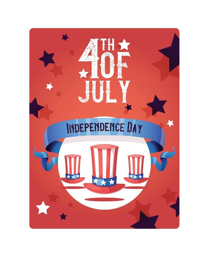 Drapeau américain de chapeau de jour de vecteur de Jour de la Déclaration d'Indépendance de fond patriotique de vacances du quatr illustration libre de droits