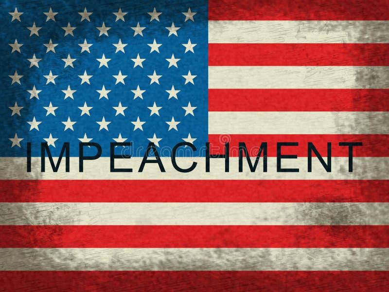 Drapeau américain de mise en accusation pour attaquer le Président corrompu Or Politician illustration de vecteur