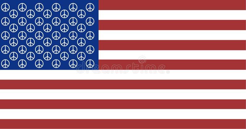 Drapeau américain de paix avec 50 signes de paix illustration stock