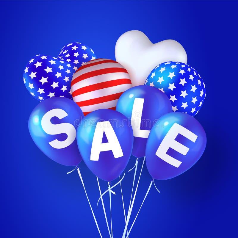 Drapeau américain de vente de ballons illustration de vecteur