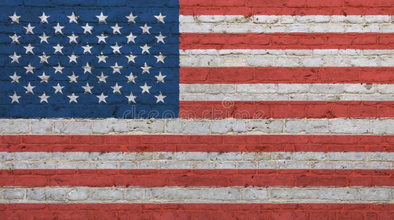 Drapeau américain des USA de vieux vintage au-dessus de mur de briques photo stock