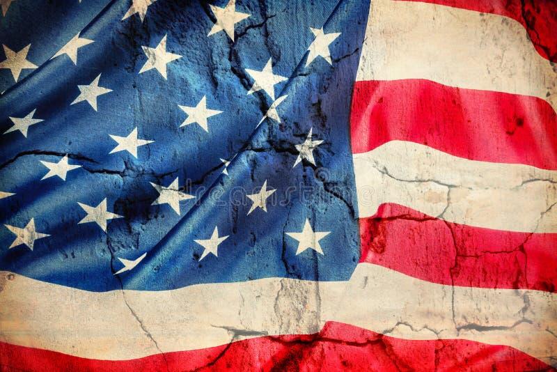 Drapeau américain fait en fond en gros plan en soie photo stock
