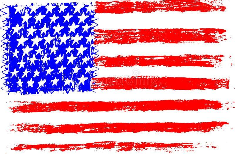Drapeau Américain, Illustration De Vecteur De Style D'enfant D'illustration De Dessin Au Crayon