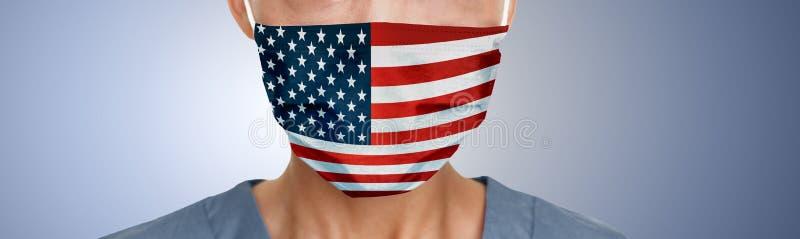 Drapeau américain imprimé sur le masque de protection du visage EPI bannière panoramique du médecin photo libre de droits