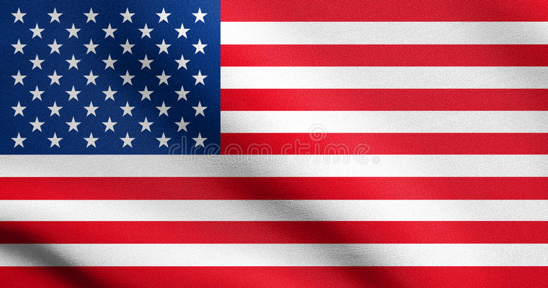 Drapeau américain ondulant en vent avec la texture de tissu images stock